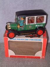 VINTAGE BANDAI BATTERY OPERATED TIN & PLASTIC ANTIQUE POLICE CAR W/ORIGINAL BOX!