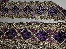 Hologramme violet sequin gold lace applique motif venise robe danse costume