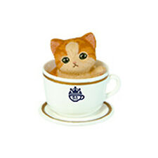 Kitten in Tea Cup Orange and Tan Cat White Cup Cell Phone Strap Charm New