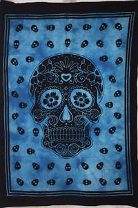 Good Looking Blue Colour Skull Design Small Cotton Tapestry Poster Wonderful Art