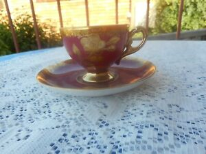 VINTAGE JAPANESE SMALL CUP AND SAUCER ROSES WITH GOLD TRIM STUNNING