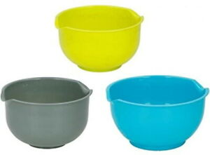 Mixing Bowl 3 Piece Set Non-Slip Baking Cooking Grey Green Blue 3 Sizes Pack