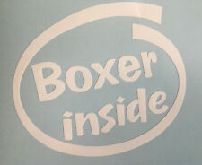 BOXER INSIDE DOG PUP ON BOARD CAR WINDOW STICKER DECAL IN WHITE ALL COLOURS MADE