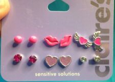 Six Pairs Claire's Pink Silver Lips Hearts Rhinestone Studs Flying Hearts New!