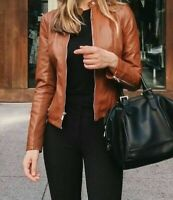 Ladies Leather Jacket Classic Biker Style Brown REAL Leather Womens Jacket