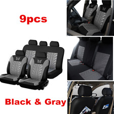 Luxury Black & Gray Car Seat Cover Full Set Breathable Seat Cushion Protector