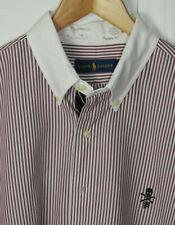POLO RALPH LAUREN Brick/White Stripe Prep Collar w/ Skull logo L/S size Large