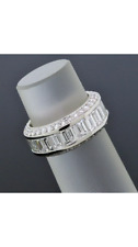 6.75 ct Round & Baguette Diamond Eternity Band Platinum Ring Size 6.5 D-F VS