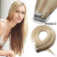 """4A 20-40Pcs 16""""-24"""" Tape In Skin Weft Remy Virgin Human Hair Extentions US I400"""