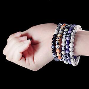Men Women Nature Stone Gemstone Beads Healing Reiki Diffuser Bracelets Jewelry