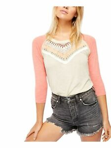 FREE PEOPLE Womens Pink Embroidered Long Sleeve Crew Neck T-Shirt Size: M