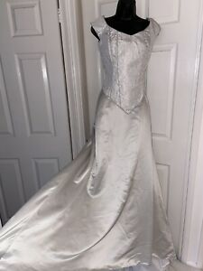 Nicola Anne Vintage Bridal Grey stuning Maxi Princess Skirt&top Set Size 14-16