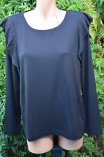 SUSSAN IBlack TOP SIZE Medium Stylish Curve Hem NEW RRP$79.95 L/S Sleeve Frill.