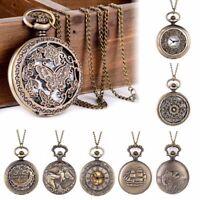 Poche Regarder Pendentif Collier Rétro Vintage Steampunk Bronze Quartz Cadeau