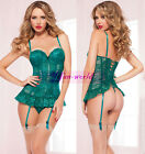 Plus Size Lingerie M/XL/3XL Green Lace Babydoll Back Lace up Nightgown G-string