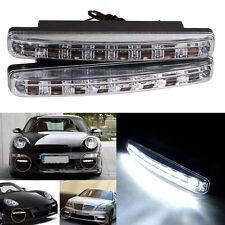 2 pcs Car Daytime Running Light 8 LED DRL Daylight Kit Super White Head Lamp 12v