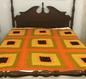 "Vintage Large Crocheted Afghan Blanket Throw Orange Yellow 72x72"" 1970 Fall"