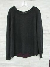 360 Sweater Charcoal & Burgundy 100% Cashmere Knit Relaxed Rear Pleat Sweater L