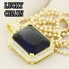 """24""""925 STERLING SILVER GOLD MOON CUT CHAIN NECKLACE SAPPHIRE PENDANT 16g R410"""