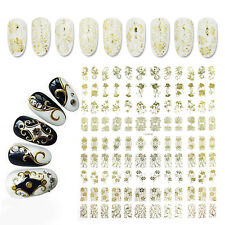 Fashion 108pcs Designs 3D Gold Color Nail Decals UV Gel Polish Nail Art Stickers