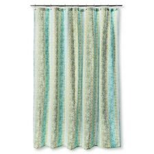 Threshold Green And Tan Print Shower Curtain Cotton 72in X NWT Free Ship