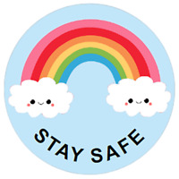 48 Personalised RAINBOW Stickers STAY SAFE 40mm Labels