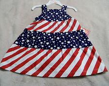 Girls 18 Months Dress Nursery Rhyme Red White Blue Sleeveless Stars & Stripes