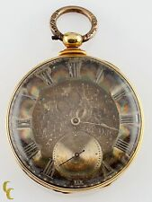 18k Yellow Gold Thomas Cooper London Key Operated Pocket Watch 13 Jewels