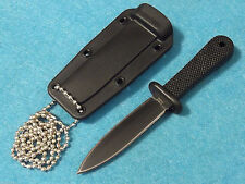 "MINI NECK KNIFE 210925 Black double edge dagger fixed blade 5 1/2"" overall NEW!"