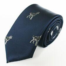 TOMMY HILFIGER TIE 100% Polyester, Wolf Pattern, Blue, Slim