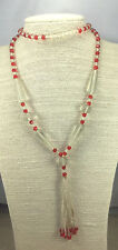 Vintage Victorian Necklace Satin Glass Frost & Ruby Tassel Very Old Strand
