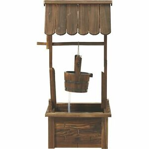 Leigh Country Wishing Well Wooden Water Fountain with Pump, Model# TX 93969
