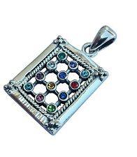 Hoshen Stones  Pendant Choshen Gems Priestly Breastplate + Chain 925 Silver