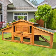 Double Storey Rabbit Hutch Chicken Coop Cage Rabbits Chook Hen House Locks