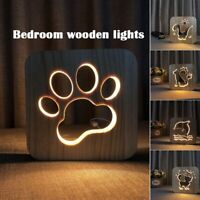Animal Wooden 3D LED Table Night Lamp Shadow Luminaria Gift Bedroom Light Decor