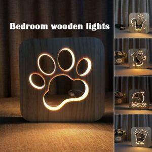 Animal Wooden 3D LED Lights Table Night Lamp Shadow Luminaria Gift Bedroom Decor