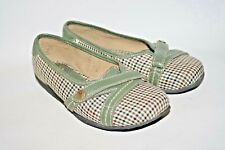 4 Shoes Ladies Woman's Ballerinas Flats Green Checked Embroidered Logo Size 5