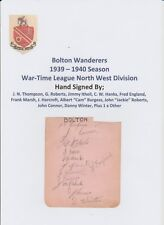 BOLTON WAND & SHEFFIELD UTD 1939-1940 RARE ORIG HAND SIGNED BOOK PAGE 19 X SIGS