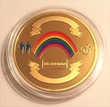 NEW: GAY MALE 1 oz Wedding Celebratory colour coin 999 24k Gold Plated