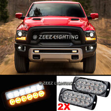 2X White&Amber 12 LED Emergency Hazard Flash Strobe Warning Beacon Light Bar C91