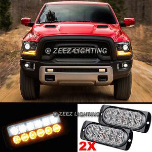 2X White&Amber 12 LED Emergency Hazard Flash Strobe Warning Beacon Light Bar C08