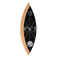 Sleek Black Glass and Wood Pendulum Wall Clock