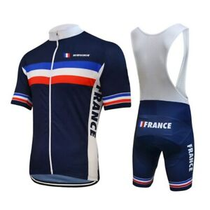 France Team Cycling Jersey Suit Men Summer Short Sleeve Retro Cycling