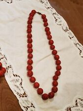 """VINTAGE HAND CARVED CINNABAR RED BEAD NECKLACE  SILVER CLASP CHINESE ANTIQUE 24"""""""