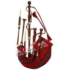 Scottish Great Highland Bagpipe Rosewood Natural Color Silver mount Tutor Book