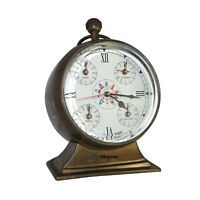Vintage Brass Clock World Time Clock Wall Decor Nautical Gift 5 Time Zones