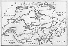 Suisse. croquis cartographique de la suisse 1917 ancien vintage plan graphique