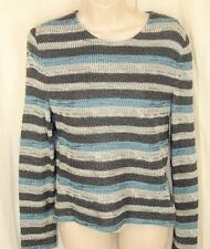 St. John Sport Sweater S Pullover Turquoise Gray Stripe Silver Metallic