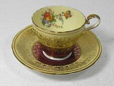 Aynsley John Cofffee taza y platillo en el patrón de Borgoña, oro de 7773