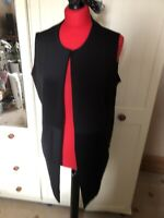 BOOHOO Ladies Black Stretch Sleeveless Longline Open Waistcoat Cardigan Size 12